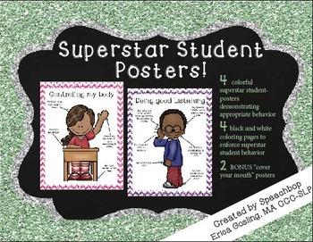 Superstar Students Behavior Posters! {bonus coloring pages}