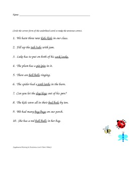 Supplemental Activities for Phonics Suffix S
