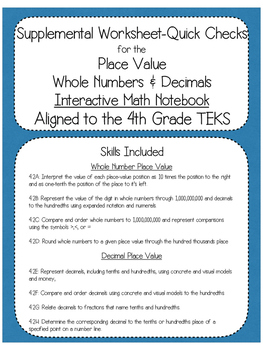 Supplemental Worksheets for the Place Value Interactive No