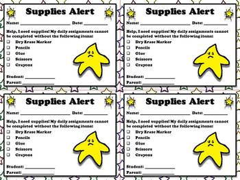 Supplies Needed Alert - Note for Parents  - Superstar Them