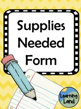 Supplies Needed Form