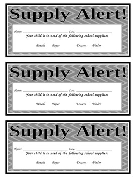 Supply Alert