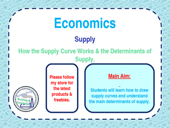 Supply - Determinants of Suppy & Supply Curves - PPT, Work