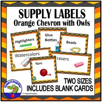 Supply Labels - Chevron and Owls