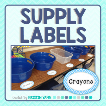 Supply Labels - Blue Chevron