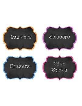 Supply Labels Chalkboard with Bright Borders