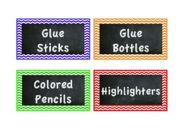 Supply Labels - Chevron & Chalkboard theme
