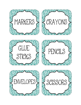 Supply Labels- Teal