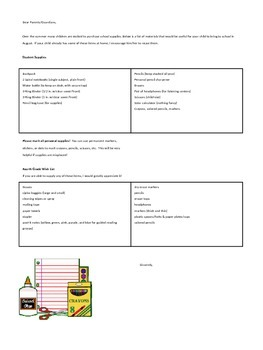 Supply List for Classroom