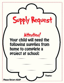 Supply Request to Send Home to Parents