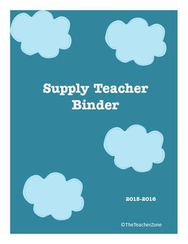 Supply Sub Teacher Binder