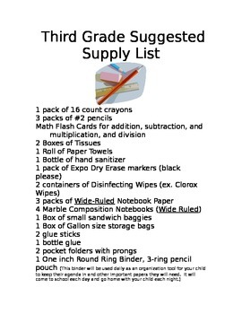 Supply list for my classroom