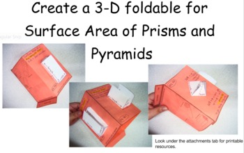 Surface Area 3-D Foldable for Prisms and Pyramids
