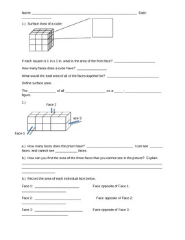 Surface Area Guided Notes and Practice