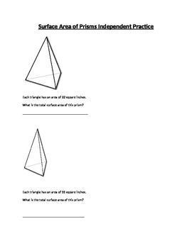 Surface Area Independent Practice and Quiz