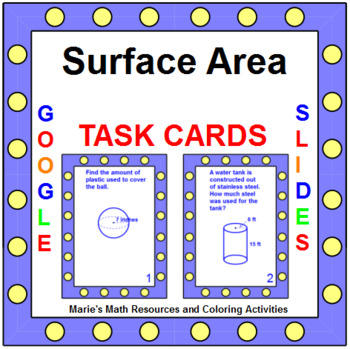 Area - Surface Area - TASK Cards (16 cards) G.MG.1