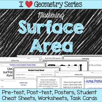 Surface Area Unit -Pretests, Post-tests, Posters, Cheat Sh