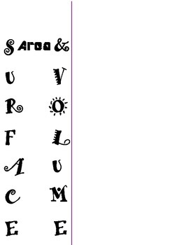 Surface Area & Volume Reference Sheet (Student-Centered, 2