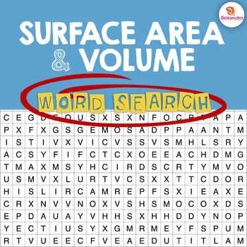 Surface Area & Volume Word Search Activity