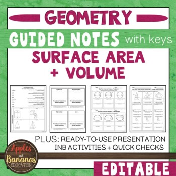 Surface Area and Volume -  Interactive Note-Taking Activities