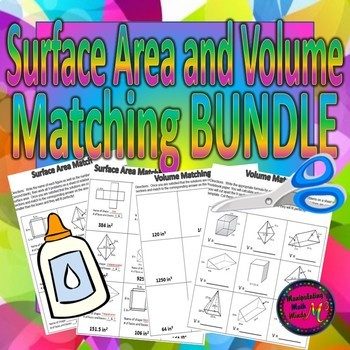 Surface Area and Volume Matching Activities - BUNDLE