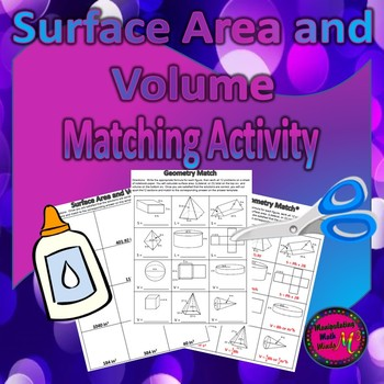 Surface Area and Volume Matching Activity