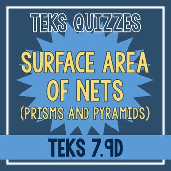 Surface Area of Nets Quiz (TEKS 7.9D)