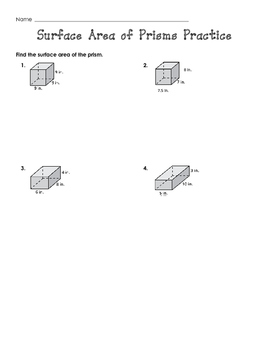 Surface Area of Prisms Practice