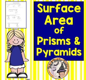 Surface Area of Prisms and Pyramids Nets Formulas Geometry