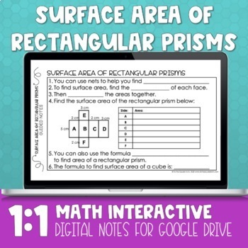 Surface Area of Rectangular Prisms Digital Math Notes