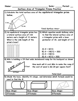 Surface Area of Triangular Prisms Word Problem Practice Pl
