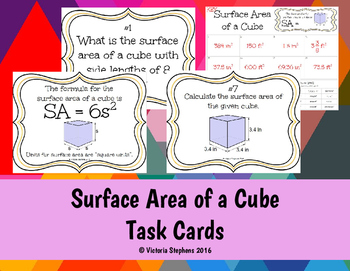 Surface Area of a Cube Task Cards