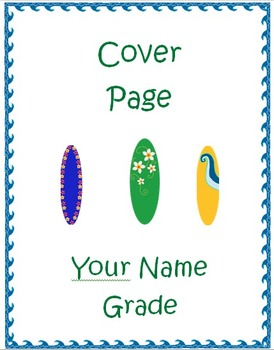 Surfboard Beach Theme Collection (Cover Sheets and Sticker