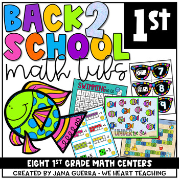 Surfing into First: 8 Back-to-School Math Centers (FIRST GRADE