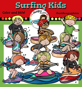 Surfing kids clip art  -Color and B&W-
