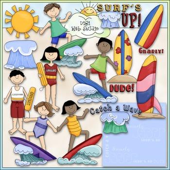 Surf's Up Clip Art - Surfing Clip Art - Swimming Clip Art