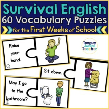 Survival English Puzzles {Questions, Commands, and Classro