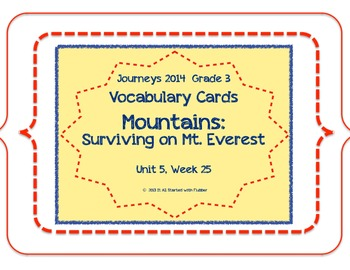 Surviving Mount Everest, Vocabulary Cards, Unit 5, Lesson