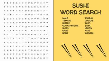Sushi Word Search; FACS, Culinary Arts, Bellringer, Japane