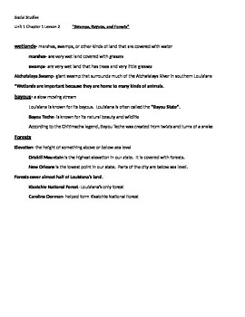 Swamps, Bayous, and Forests Study Guide