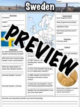 Sweden Worksheet