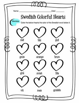Swedish Colors Worksheet