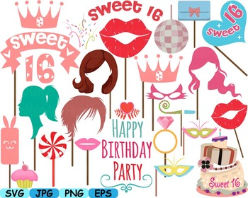 Sweet 16 Props 16th Sixteen Pink Party Décor Lips Clipart