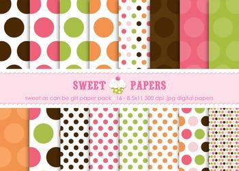 Sweet As Can Be Pink, Orange Polkadot Digital Paper Pack -