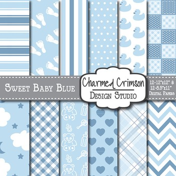 Sweet Baby Blue Digital Paper 1095
