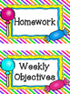 Sweet Candy Themed Classroom Subject/Agenda/Schedule & Bla