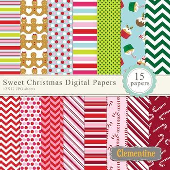 Sweet Christmas scrapbook paper 12x12, digital scrapbooking paper