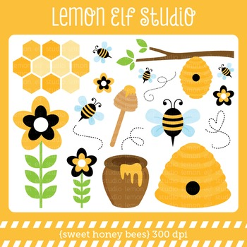 Sweet Honey Bees-Digital Clipart (LES.CL54)