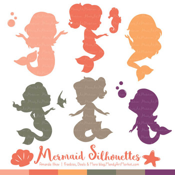 Sweet Mermaid Silhouettes Vector Clipart in Antique Peach