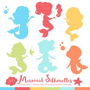 Sweet Mermaid Silhouettes Vector Clipart in Fresh Boy